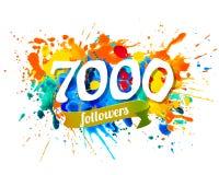 7000 followers. Splash paint inscription. Seven thousand followers. Splash paint vector inscription Vector Illustration