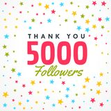 5000 followers success template with colorful stars. Vector Stock Photos
