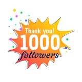 1000 followers success thank you message for social network. Vector Royalty Free Stock Images