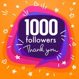1000 followers , thank you banner, stars, confetti and lettering. Composition Stock Illustration