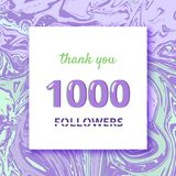 1000 Followers thank you banner. Vector illustration. 1000 Followers thank you square banner with liquid background and frame. Template for social media post Royalty Free Stock Image