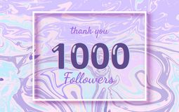 1000 Followers thank you banner. Vector illustration. 1000 Followers thank you square banner with liquid background and frame. Template for social media post Royalty Free Stock Images