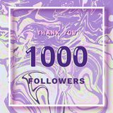 1000 Followers thank you banner. Vector illustration. 1000 Followers thank you square banner with liquid background and frame. Template for social media post Stock Photography