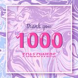 1000 Followers thank you banner. Vector illustration. 1000 Followers thank you square banner with liquid background and frame. Template for social media post Stock Images