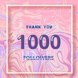 1000 Followers thank you banner. Vector illustration. 1000 Followers thank you square banner with liquid background and frame. Template for social media post Royalty Free Stock Photos