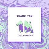 Followers thank you banner. Vector illustration. 1K Followers thank you square banner with liquid background and frame. Template for social media post. Cover Stock Image