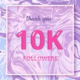 10000 Followers thank you banner. Vector illustration. 10K Followers thank you square banner with liquid background and frame. Template for social media post Stock Photo
