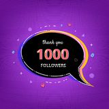 1000 Followers thank you banner. Vector illustration. Thank you 1000 followers card. Template for Social Network. 1K subscribers banner with speech bubble Royalty Free Stock Images