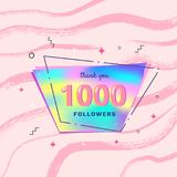 1000 followers thank you. Vector illustration. 1000 followers thank you card. Celebration 1k subscribers  banner. Template for social media. Vector illustration Royalty Free Stock Image