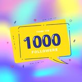 1000 followers thank you. Vector illustration. 1000 followers thank you card. Celebration 1k subscribers geometric banner. Template for social media. Vector Stock Images