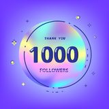 1000 followers thank you. Vector illustration. 1000 followers thank you card. Celebration 1k subscribers geometric banner. Template for social media. Vector Stock Photos