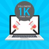 1000 Followers thank you card with laptop Template for social media post. 1K subscribers vivid banner. Vector illustration. 1000 Followers thank you card with vector illustration