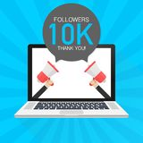 10000 Followers thank you card with laptop Template for social media post. 10K subscribers vivid banner. Vector illustration. 10000 Followers thank you card Royalty Free Illustration