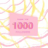 1000 followers thank you card. Vector illustration. stock illustration