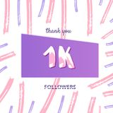 1000 followers thank you card. Vector illustration. 1K followers thank you card. 1000 subscribers cover with  brush abstract lines. Template for social media Royalty Free Stock Photos