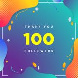 100, followers thank you colorful geometric background number. abstract for Social Network friends, followers, Web user Thank you stock illustration