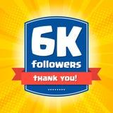 6000 followers Thank you design card Royalty Free Stock Photos