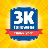 3000 followers Thank you design card Royalty Free Stock Photo