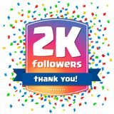2000 followers Thank you design card. For celebrating a large number of subscribers or followers in social networks Stock Photography