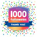 1000 followers Thank you design card Royalty Free Stock Image