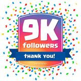 9000 followers Thank you design card Royalty Free Stock Photo