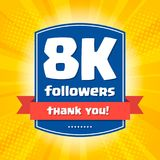 8000 followers Thank you design card Stock Images