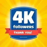 4000 followers Thank you design card Stock Photo