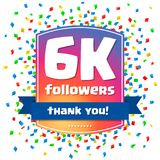 6000 followers Thank you design card Royalty Free Stock Image