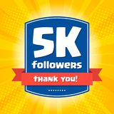 5000 followers Thank you design card Royalty Free Stock Photo