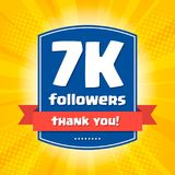 7000 followers Thank you design card Stock Photos