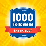 1000 followers Thank you design card. For celebrating a large number of subscribers or followers in social networks Stock Photography