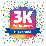 3000 followers Thank you design card Stock Photos