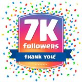 7000 followers Thank you design card Stock Photo