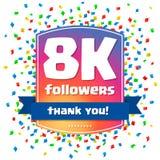8000 followers Thank you design card Royalty Free Stock Photos