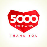 5000 followers thank you heart. The 5000 vector followers thanks card for network friends with red facet heart royalty free illustration