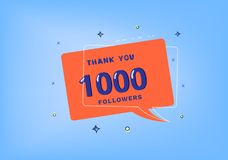 1K followers thank you post for social media. Vector illustration. 1000 followers thank you post with decoration. 1K subscribers banner with speech bubble Royalty Free Stock Photography
