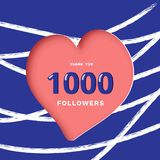 1K followers thank you post for social media. Vector illustration. 1000 followers thank you post with heart shape and line decoration background. 1K subscribers royalty free illustration