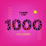 1000 Followers thank you post. Vector illustration. 1000 Followers thank you post on pink background with random items. Memphis trendy effect of typography Stock Photo