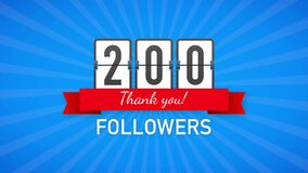 200 followers, Thank You, social sites post. Thank you followers congratulation card. Motion graphics.