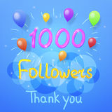 Followers thank you. Vector graphic design for social networks. 1000 Followers thank you. Vector graphic design for social networks Royalty Free Stock Photo