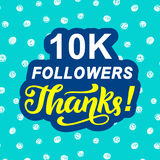 10000 followers thanks. Congratulations card template Royalty Free Stock Images