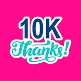 10000 followers thanks. Congratulations card template, network banner. Social media. Vector illustration royalty free illustration