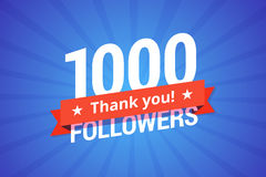 1000 followers vector illustration. Greeting card for social networks Stock Illustration