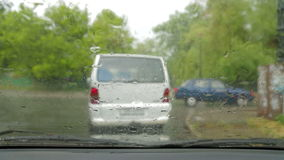 Following a Car While Driving During Rain stock footage