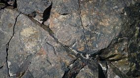 Following A Crack In Rock Surface. Tracking shot moving along a crack in weathered rock face stock video footage