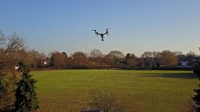 Following the flying multicopter stock video