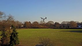 Following the flying multicopter stock footage