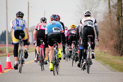 Following the Pack. A Cyclist follows the pack during the Escape Velocity Spring Series cycling race near Aldergrove, British Columbia on March 1, 2015 royalty free stock photography