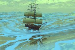 Following Sea. A ship sails in a rough ocean Royalty Free Stock Images
