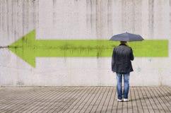 Follows the arrow giant. Stock Photos